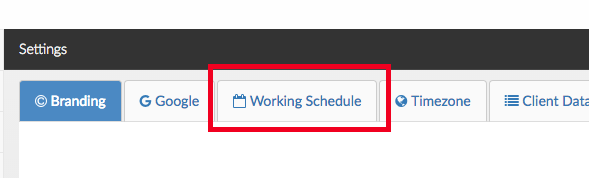 working schedule tab