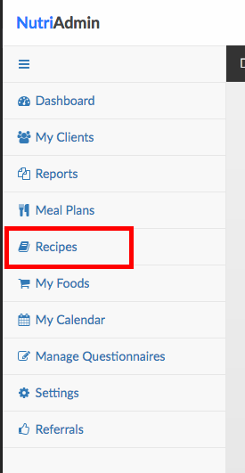 recipes in menu