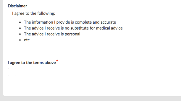 example disclaimer and checkbox