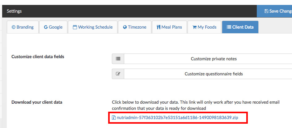 How to download all of your client data in bulk | Nutriadmin Docs