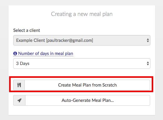 create new meal plan