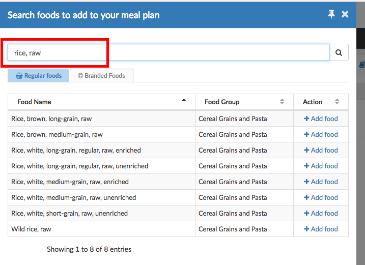 how to manage cooked and uncooked products like rice and pasta in meal plans