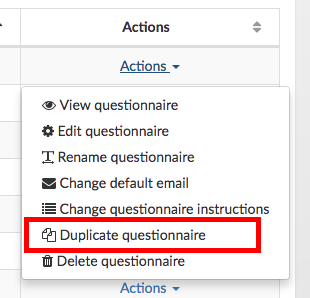 duplicate questionnaire button