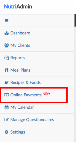 online payments menu