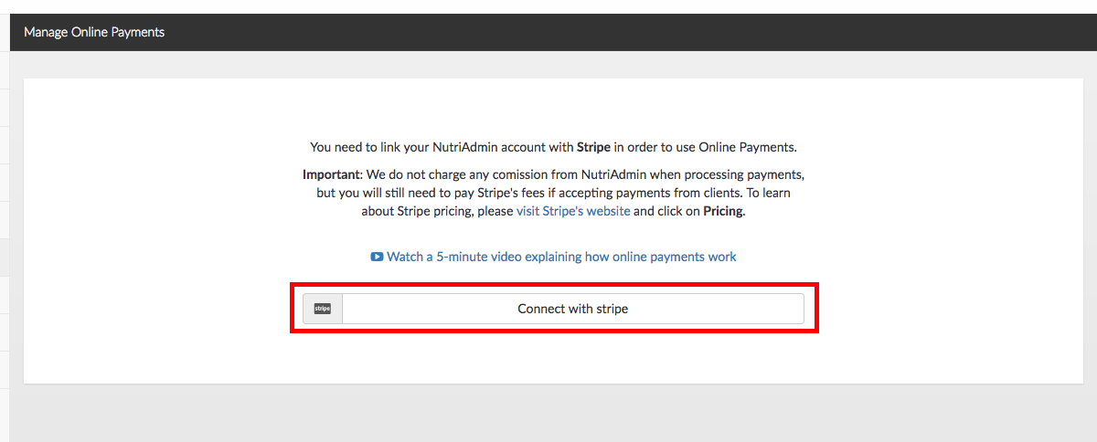 How to link NutriAdmin with Stripe to setup your online payments