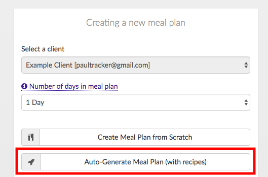 auto generate meal plan