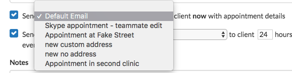 example dropdown new appointment
