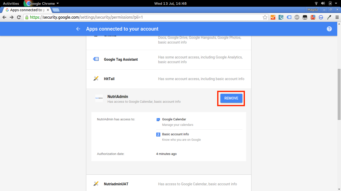 Removing NutriAdmin from Google Apps